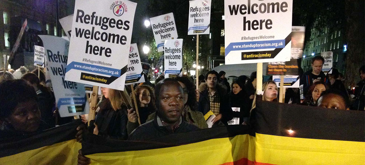 "Manifestation ""Refugee welcome here"""